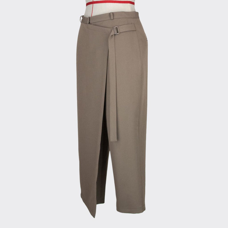 Womb Asymmetric Tapered Pants Rayon Polyester Khaki M
