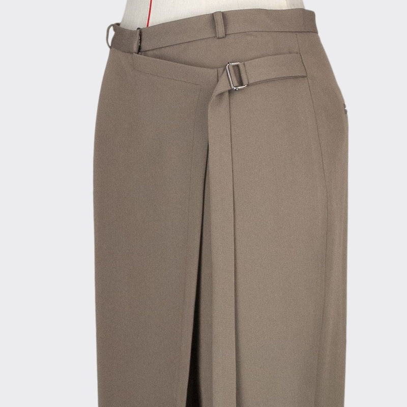 Womb Asymmetric Tapered Pants Rayon Polyester Khaki XL