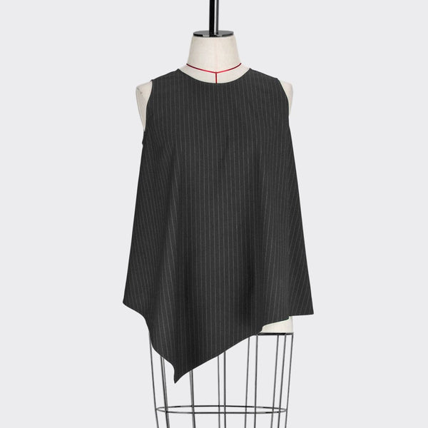 Womb Asymmetrical Sleeveless Top Polyester Black S