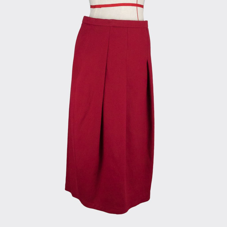 Womb Cocoon Pleated Skirt Cotton Blue S