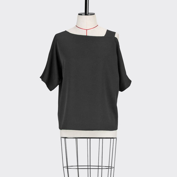 Womb Asymmetrical Top Polyester Black S