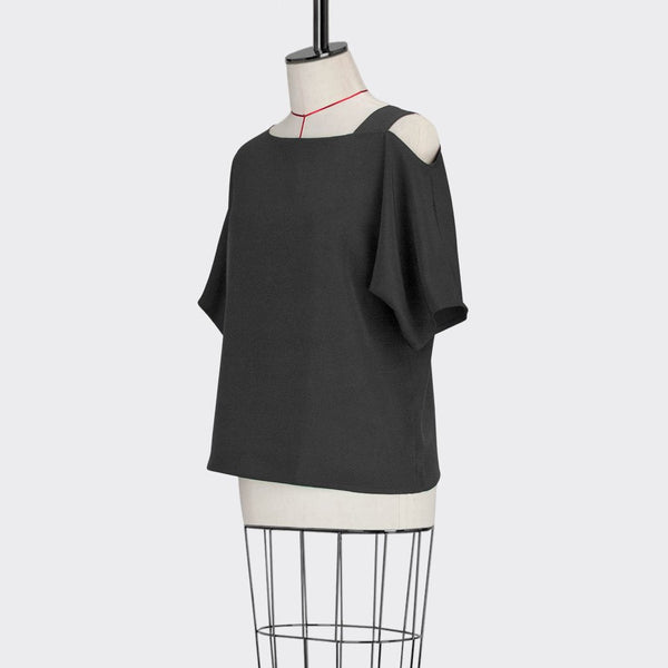 Womb Asymmetrical Top Polyester Black M