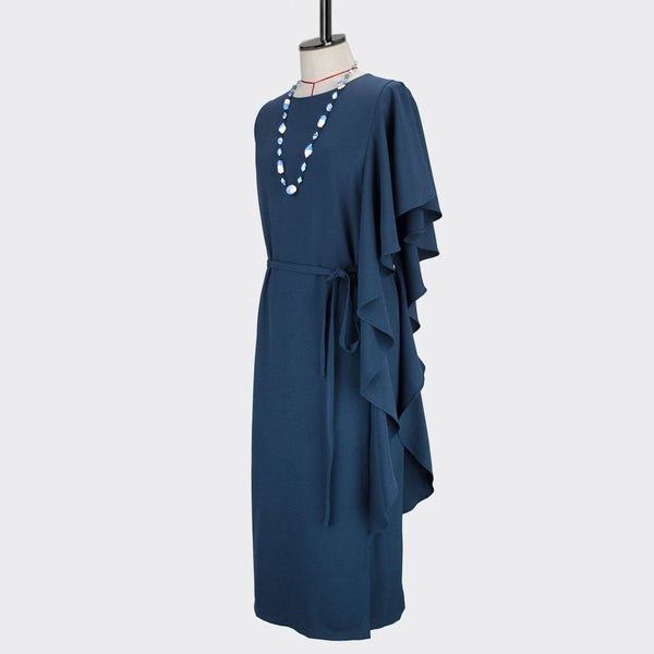 Womb Asymmetrical Frill Dress Polyester Spandex Blue M