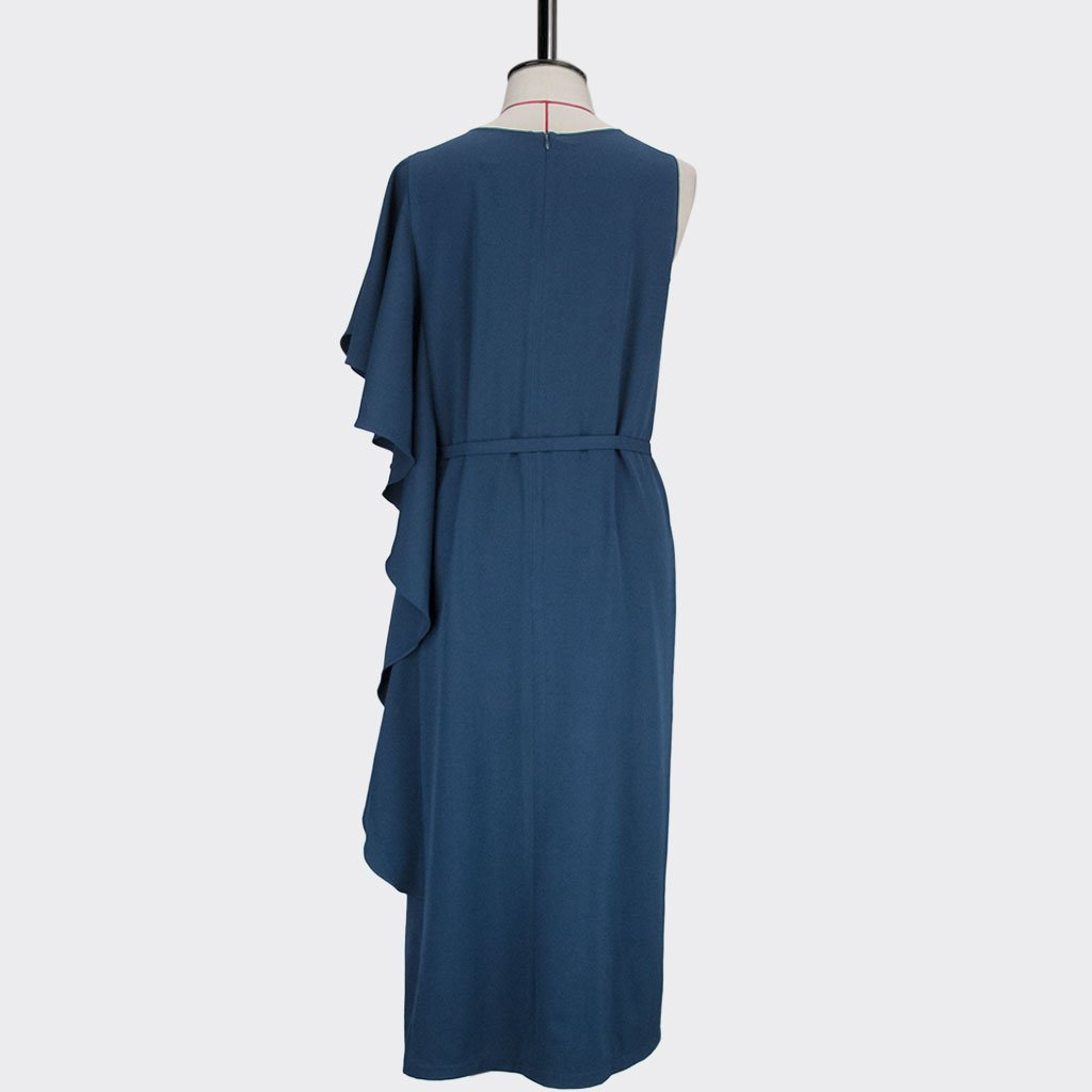 Womb Asymmetrical Frill Dress Polyester Spandex Blue L