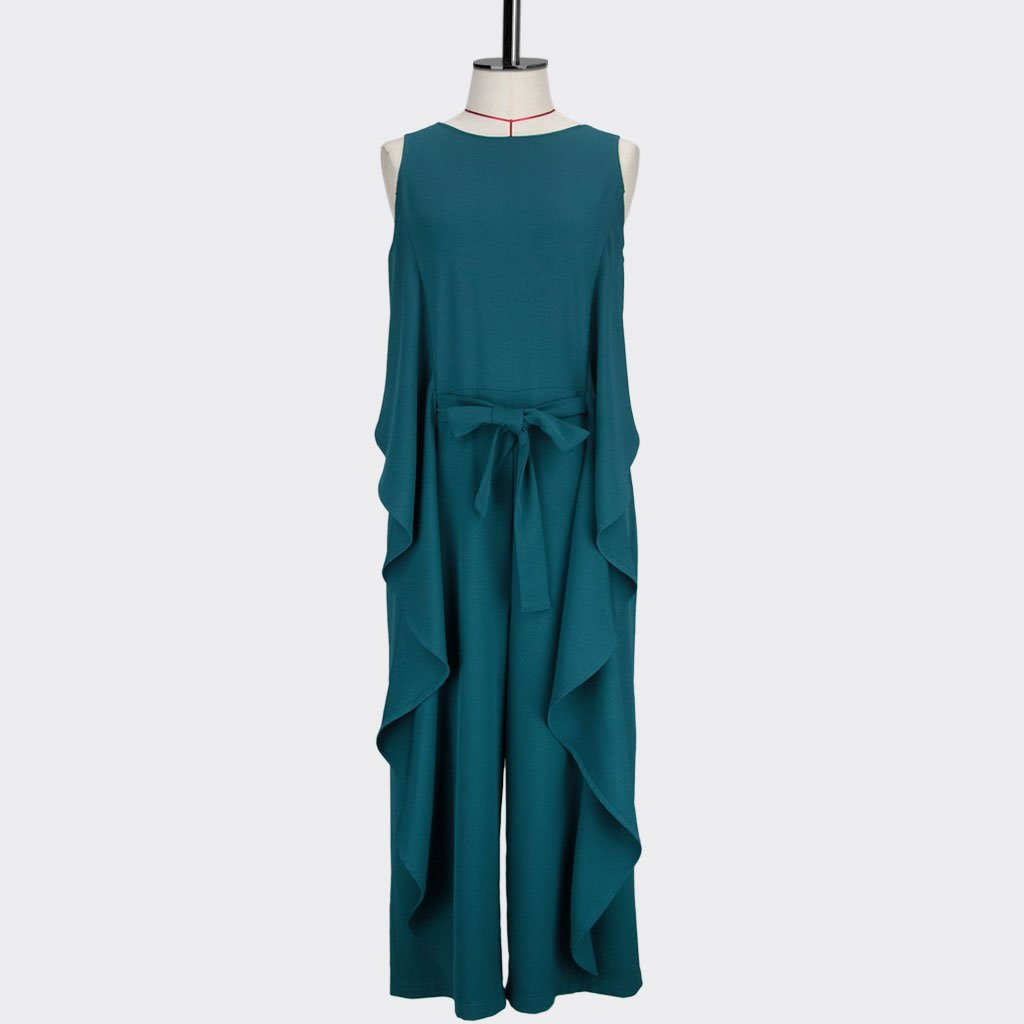 Womb Ruffle Jumpsuit Polyester Spandex Teal S