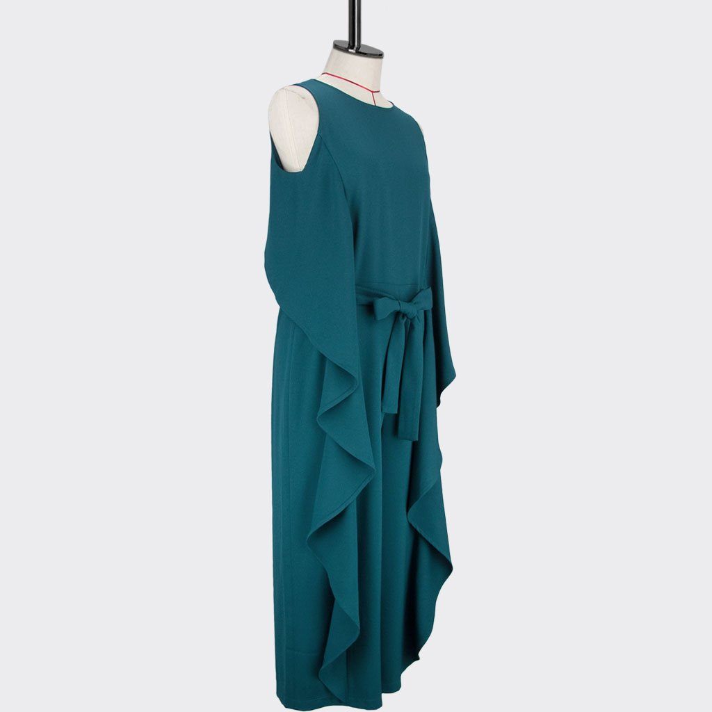 Womb Ruffle Jumpsuit Polyester Spandex Teal M