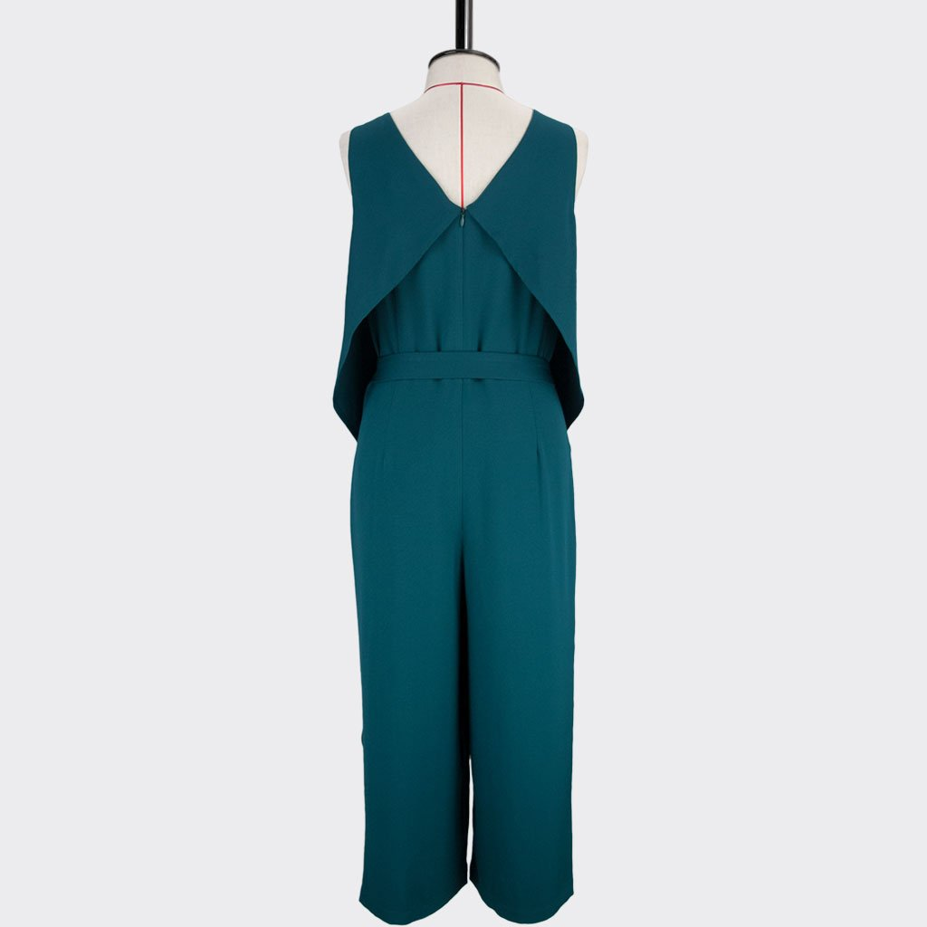 Womb Ruffle Jumpsuit Polyester Spandex Teal L