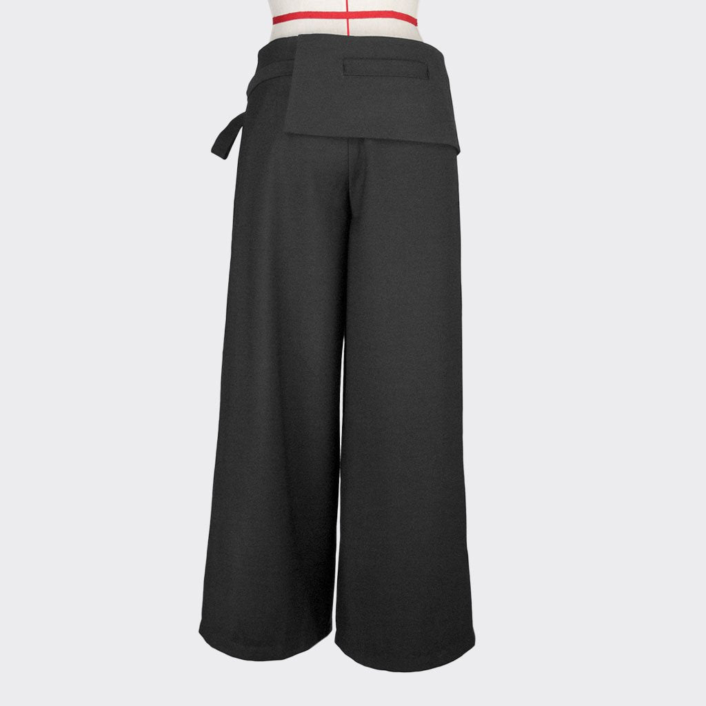 Womb Knotted Crop Pants Polyester Spandex Black L
