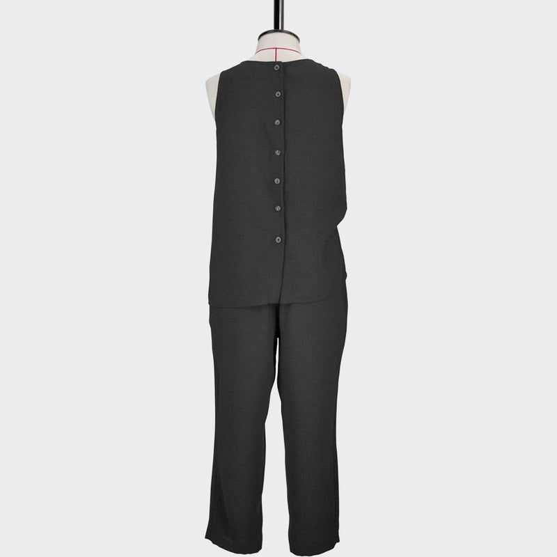 Womb Faux Two-Piece Jumpsuit Polyester Black L