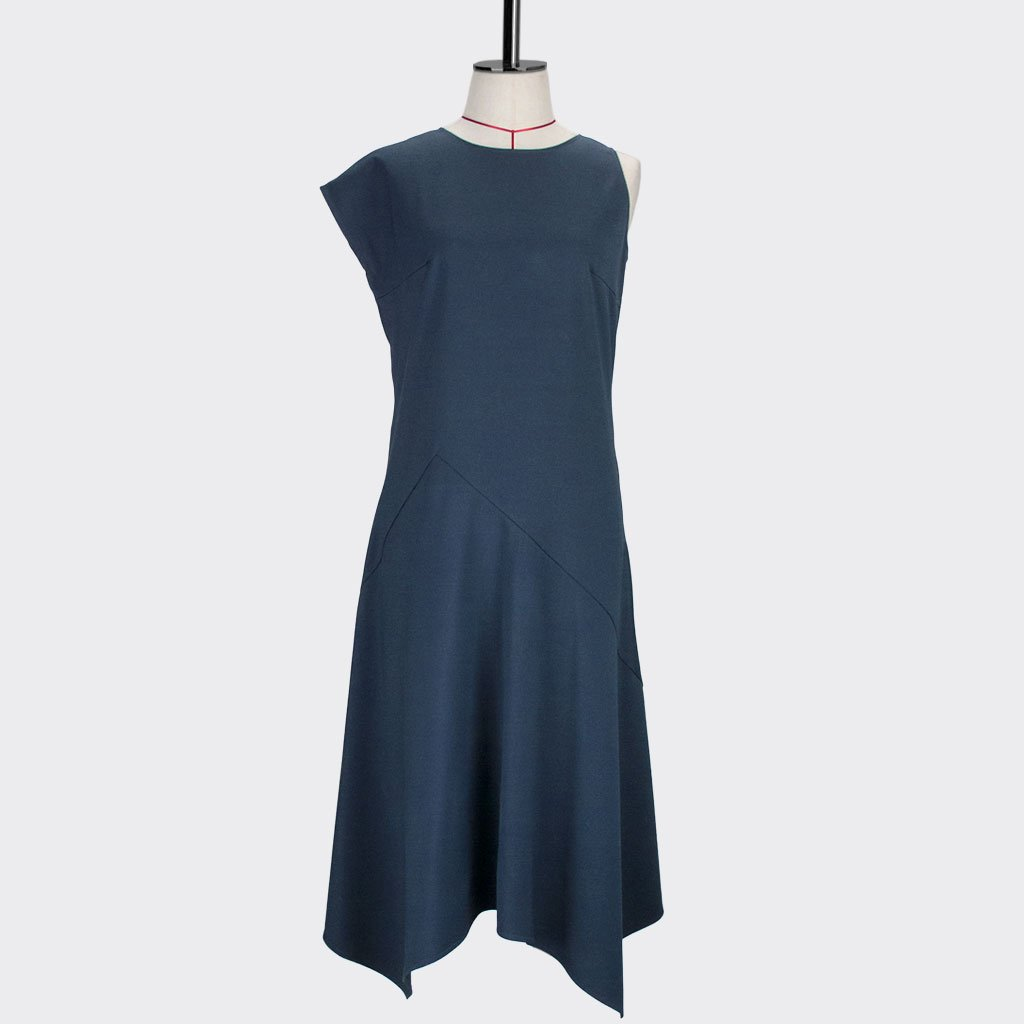 Womb Asymmetrical Angular Dress Polyester Rayon Blue S