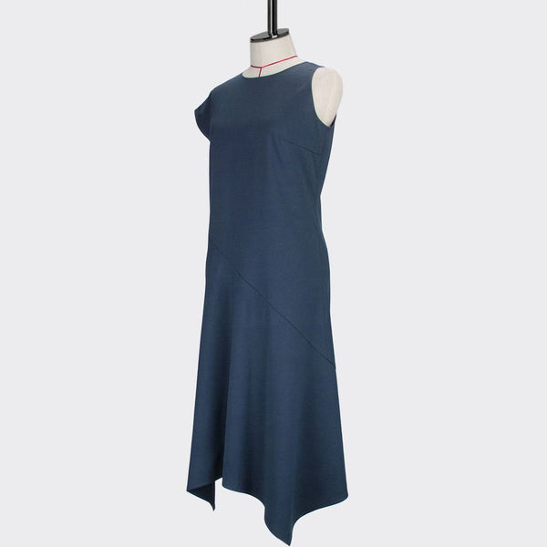 Womb Asymmetrical Angular Dress Polyester Rayon Blue M