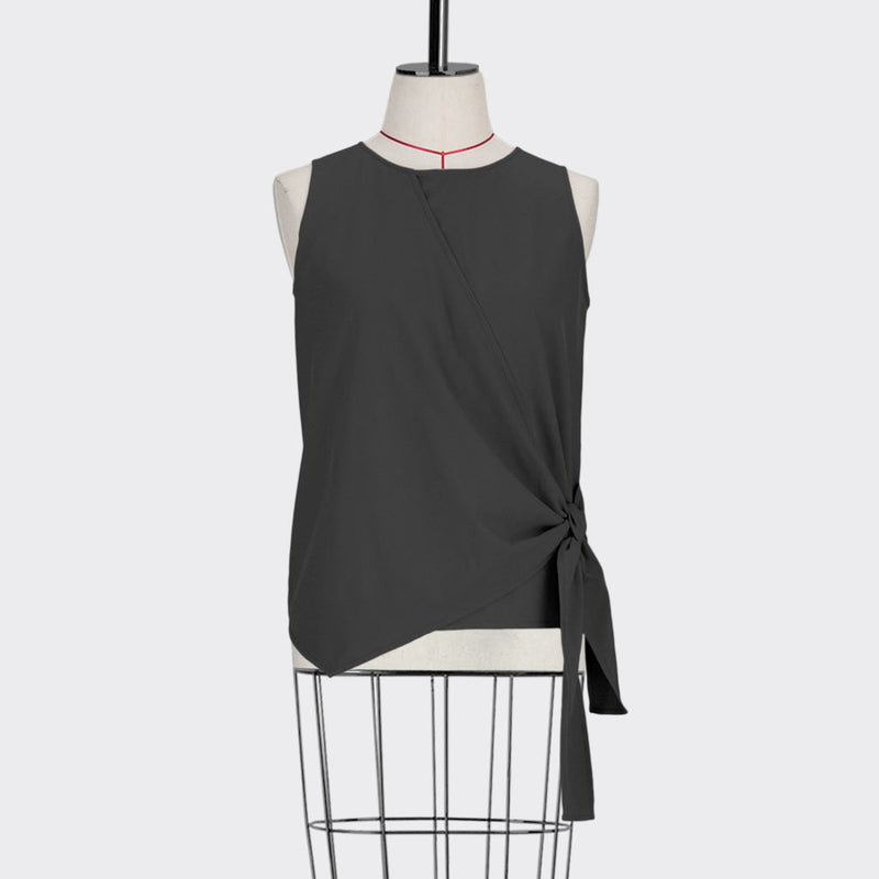 Womb Wrap Knotted Top Polyester Rayon Black S