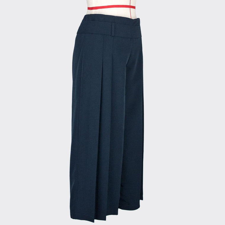 Womb Pleated Flare Pants Polyester Rayon Blue XL