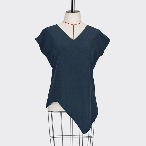 Womb Angular Top Polyester Rayon Blue S