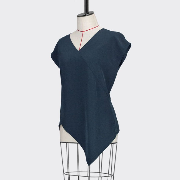 Womb Angular Top Polyester Rayon Blue M