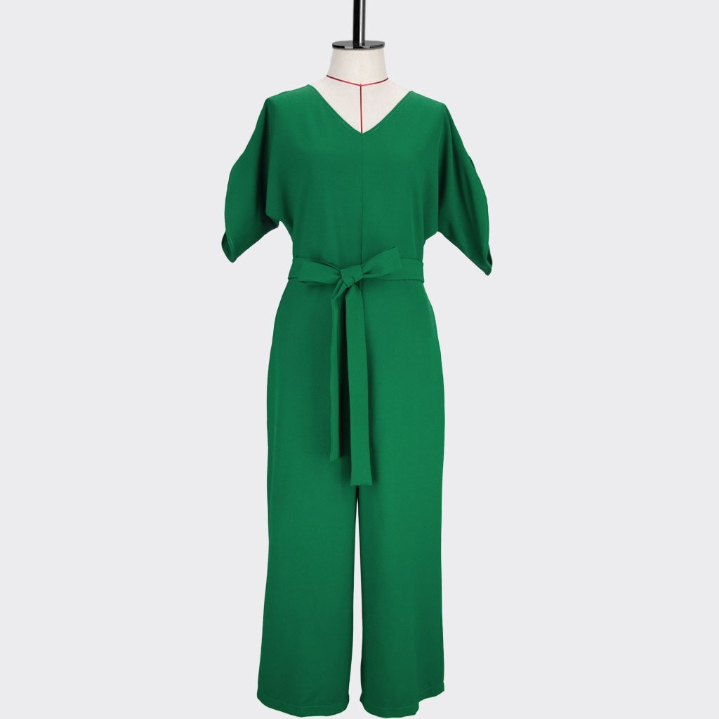 Womb Elbow Sleeve Jumpsuit Polyester Green S