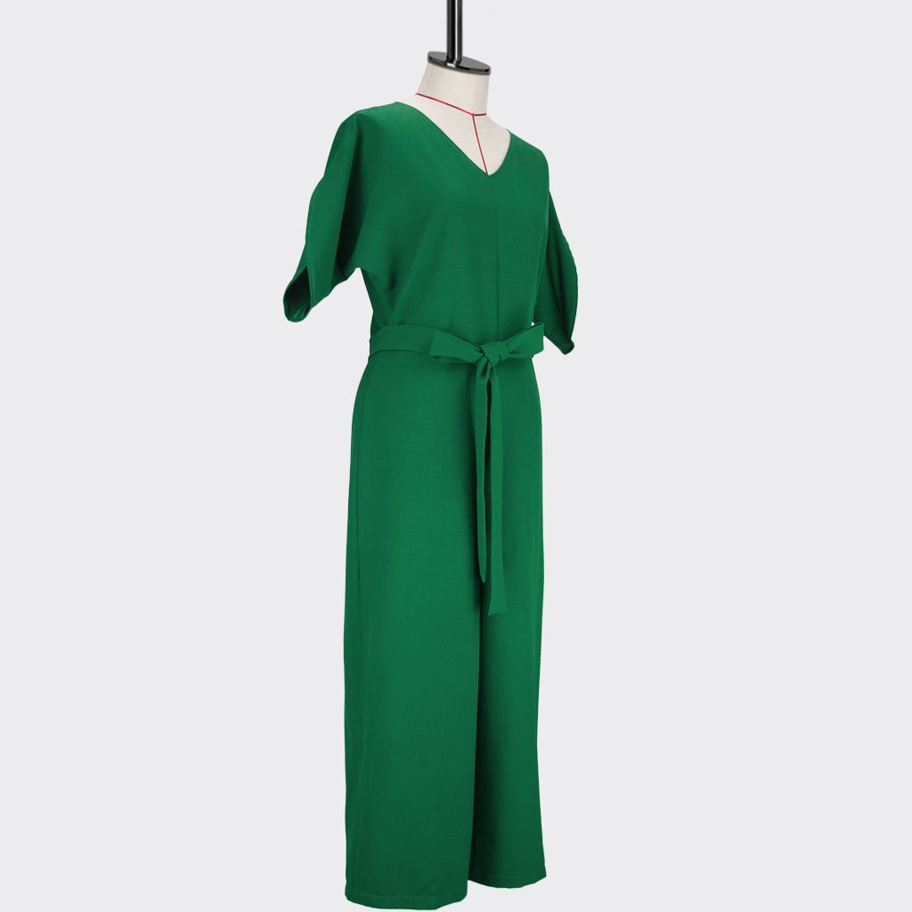 Womb Elbow Sleeve Jumpsuit Polyester Green M