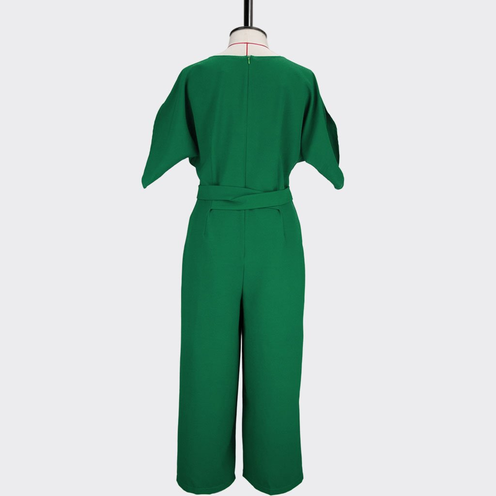 Womb Elbow Sleeve Jumpsuit Polyester Green L