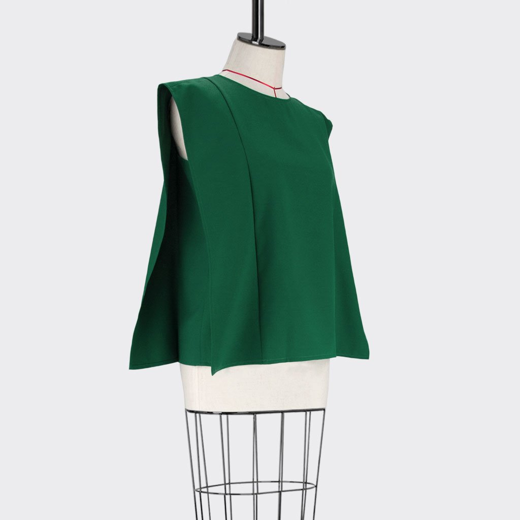 Womb Square Angular Top Polyester Green M