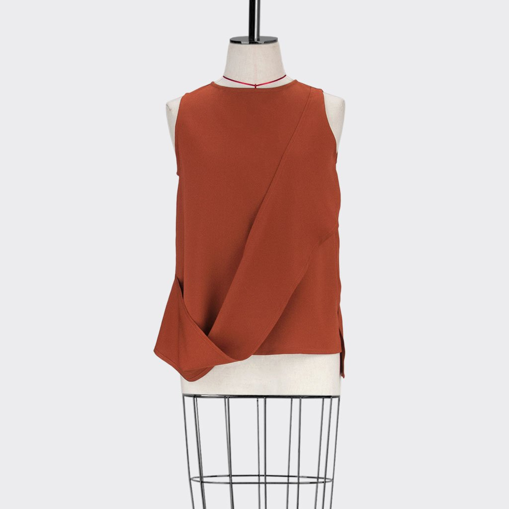 Womb Layered Twist Top Polyester Red S