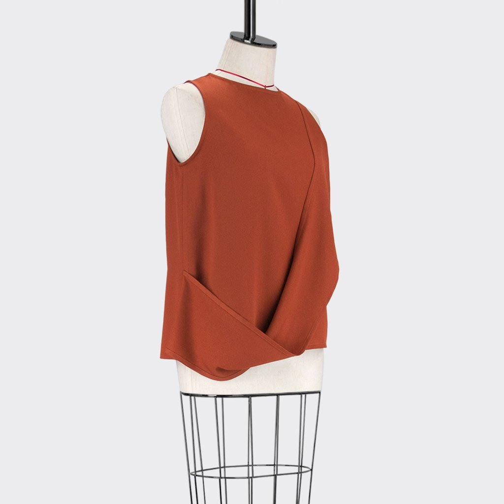 Womb Layered Twist Top Polyester Red M