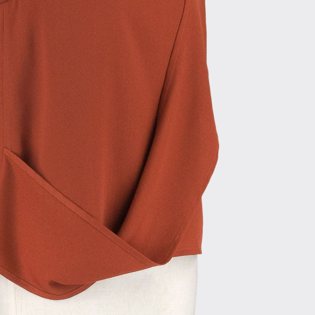 Womb Layered Twist Top Polyester Red XL
