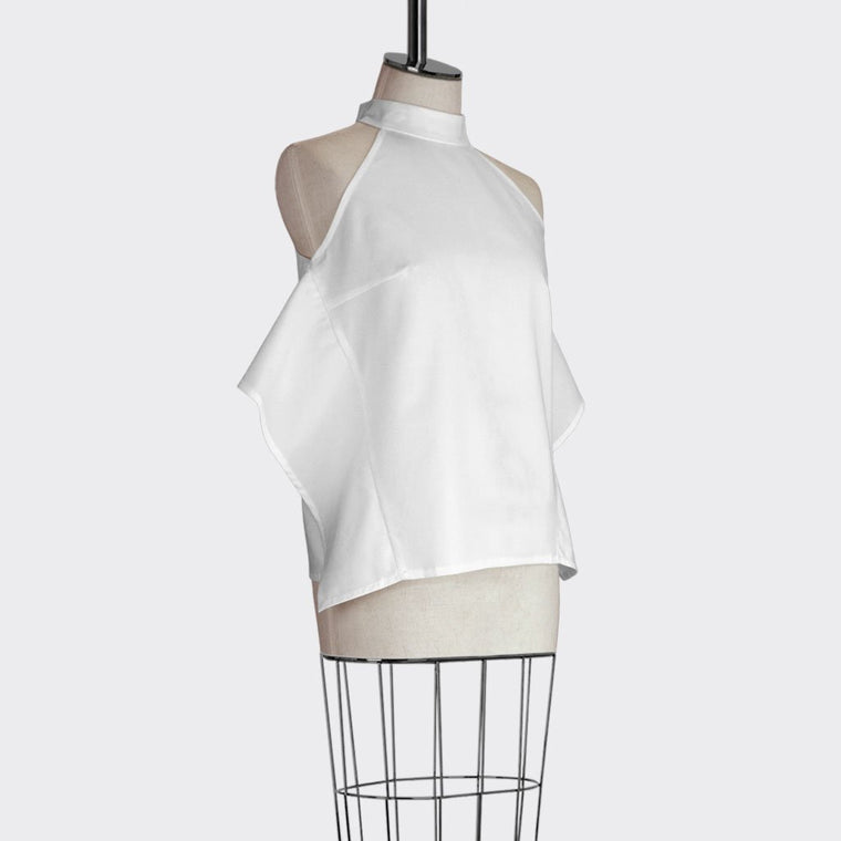 Womb Collar Frill Top Polyester Modal Spandex White XL