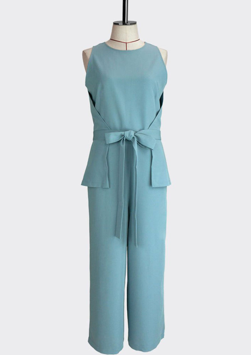 Womb Knotted Peplum Jumpsuit Polyester Rayon Blue S