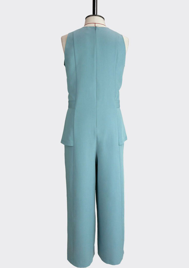 Womb Knotted Peplum Jumpsuit Polyester Rayon Blue L