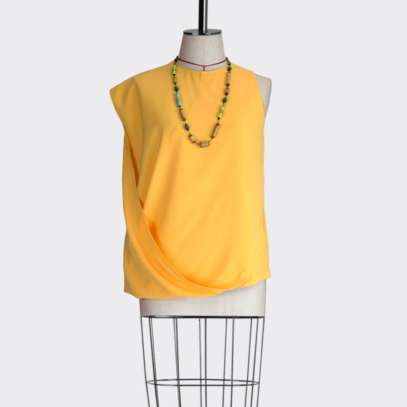 Fall 2018 Asymmetric Drape Top Polyester Yellow S