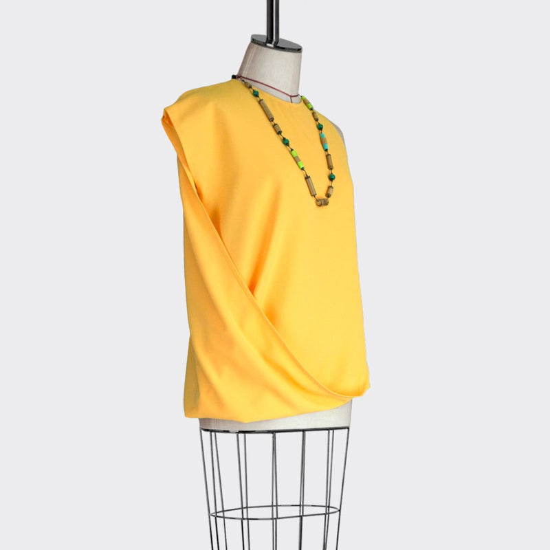 Fall 2018 Asymmetric Drape Top Polyester Yellow M