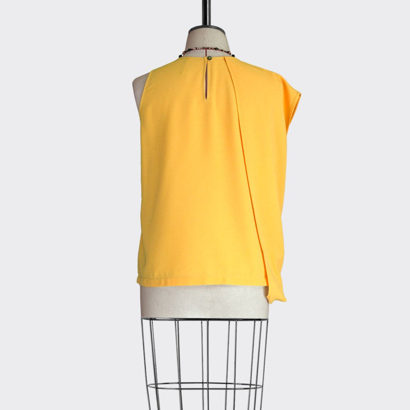 Fall 2018 Asymmetric Drape Top Polyester Yellow L
