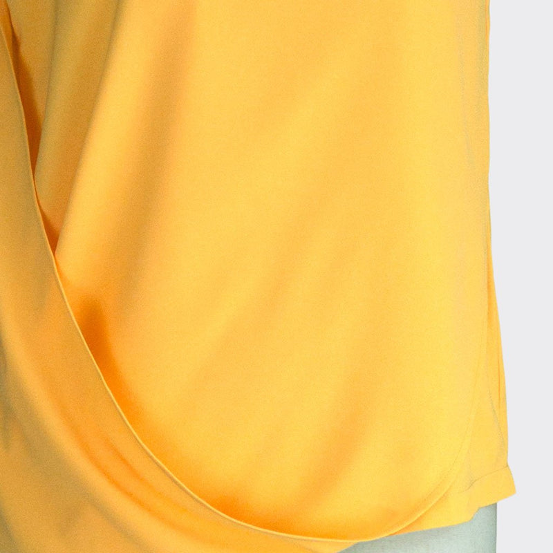 Fall 2018 Asymmetric Drape Top Polyester Yellow XL