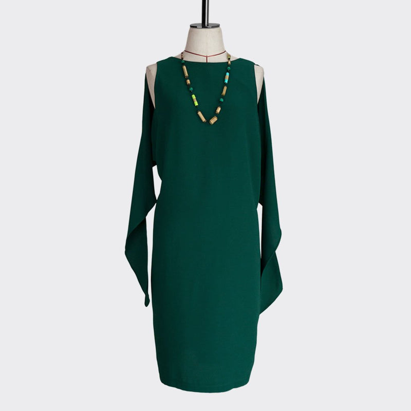 Fall 2018 Knotted Shawl Dress Polyester Green S