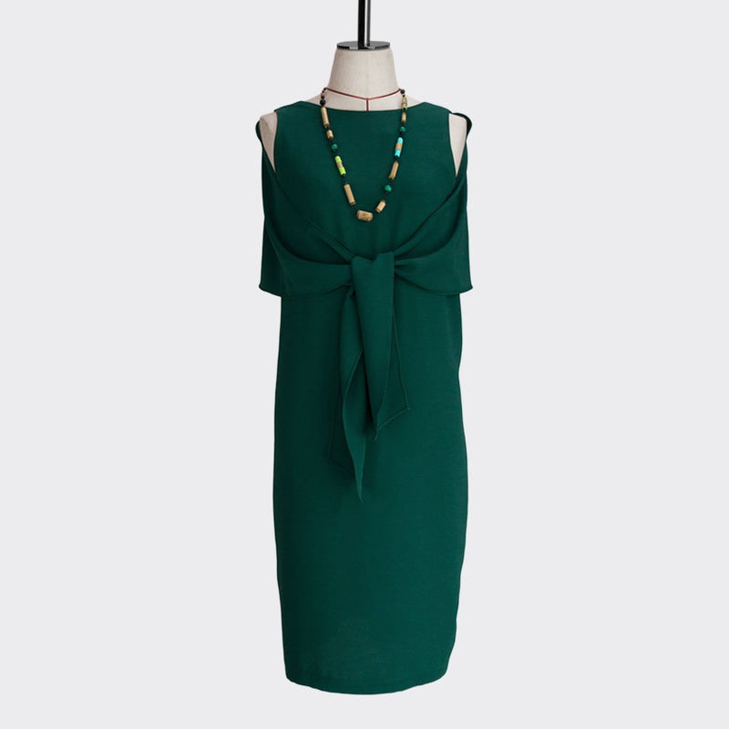 Fall 2018 Knotted Shawl Dress Polyester Green M