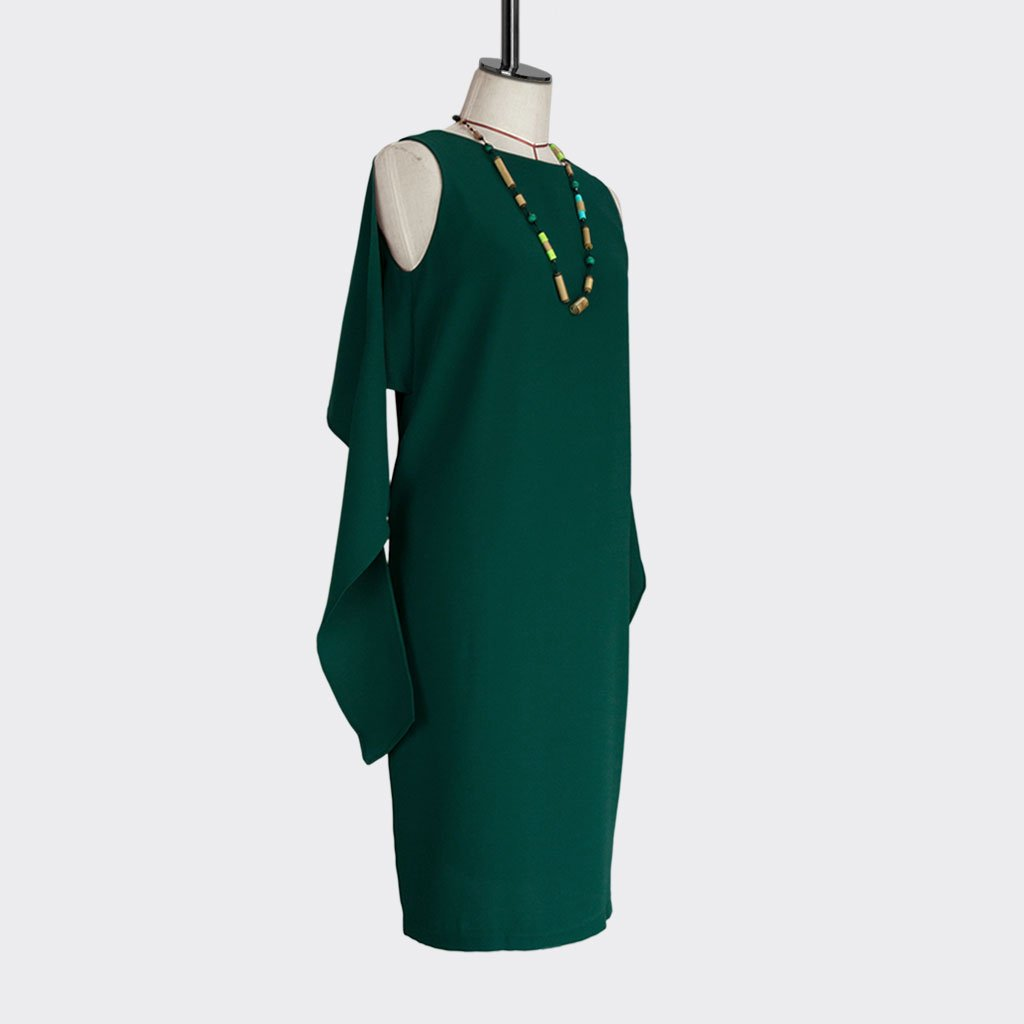 Fall 2018 Knotted Shawl Dress Polyester Green L