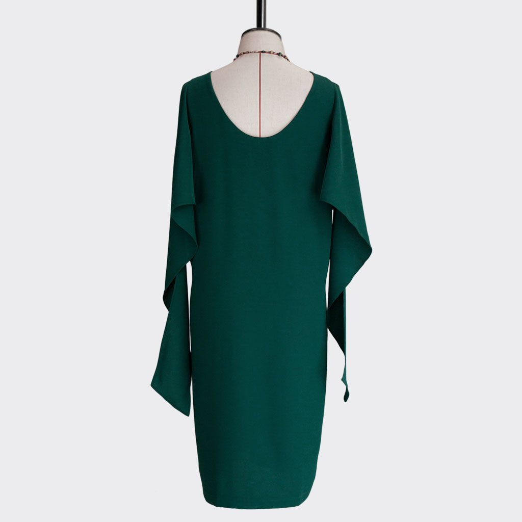 Fall 2018 Knotted Shawl Dress Polyester Green XL