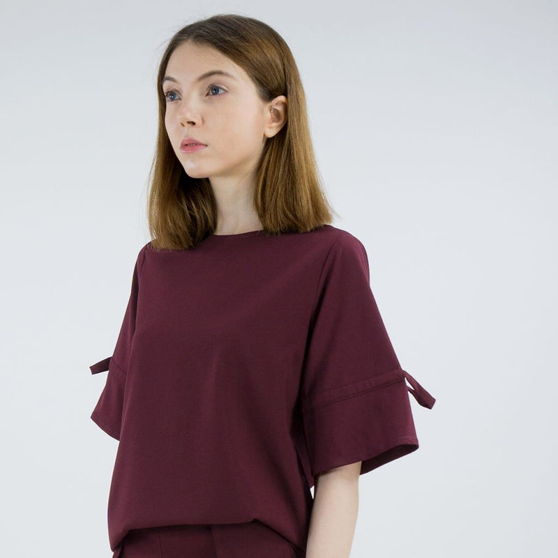 Drawstring Sleeve Blouse
