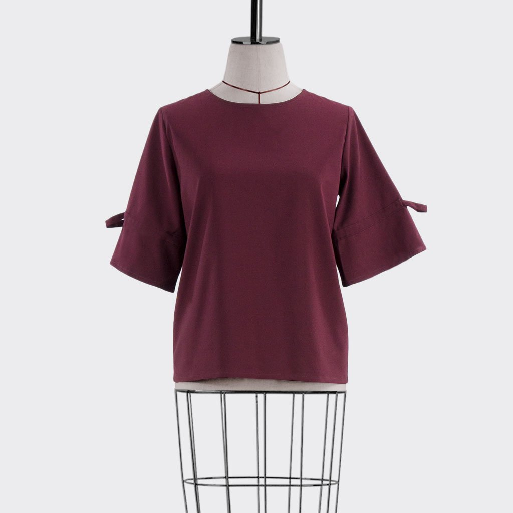 Fall 2018 Drawstring Sleeve Blouse Polyester Rayon Burgundy S