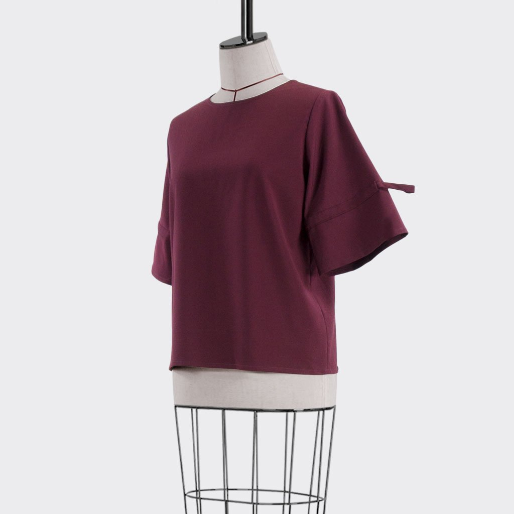 Fall 2018 Drawstring Sleeve Blouse Polyester Rayon Burgundy M