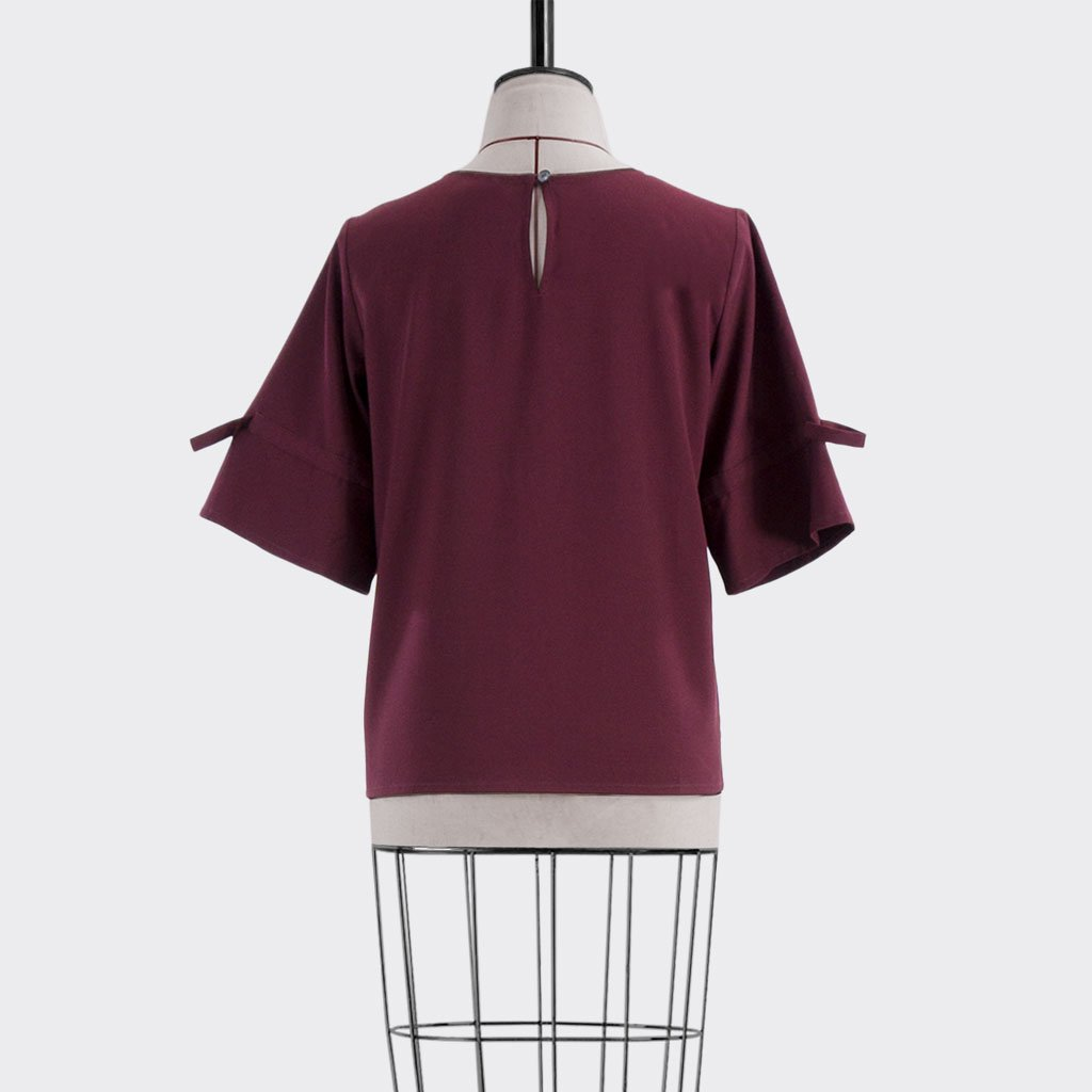 Fall 2018 Drawstring Sleeve Blouse Polyester Rayon Burgundy L