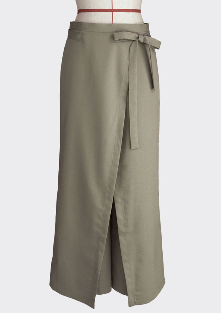 Fall 2018 Wrap Over Knot Pants Polyester Modal Khaki S