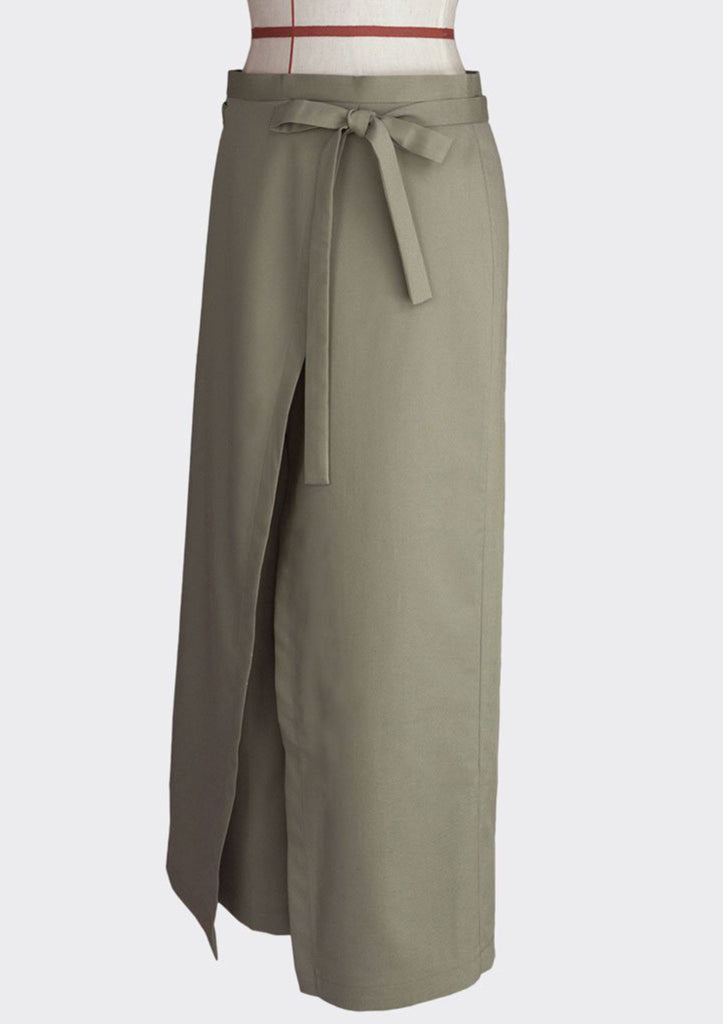 Fall 2018 Wrap Over Knot Pants Polyester Modal Khaki M
