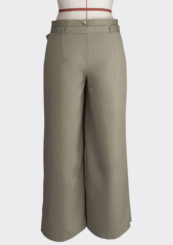 Fall 2018 Wrap Over Knot Pants Polyester Modal Khaki L