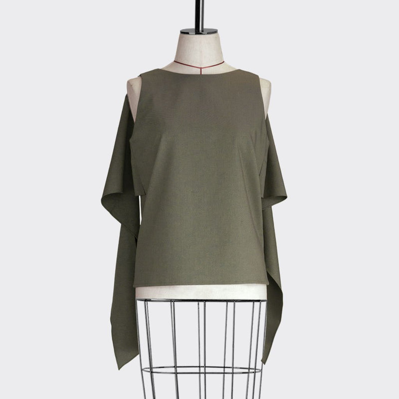 Fall 2018 Shawl Drape Top Polyester Modal Green S