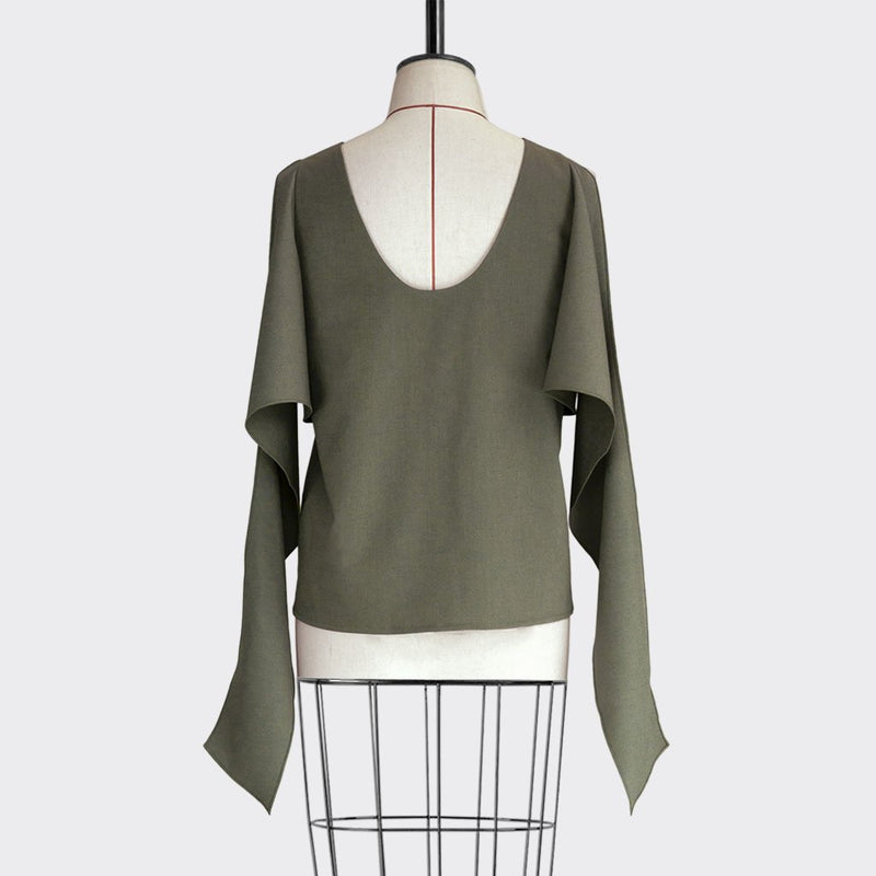 Fall 2018 Shawl Drape Top Polyester Modal Green L