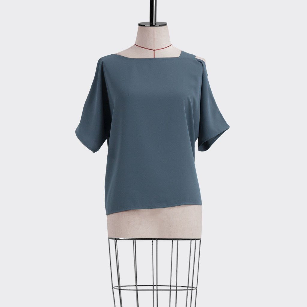 Fall 2018 Asymmetrical Top Polyester Blue S