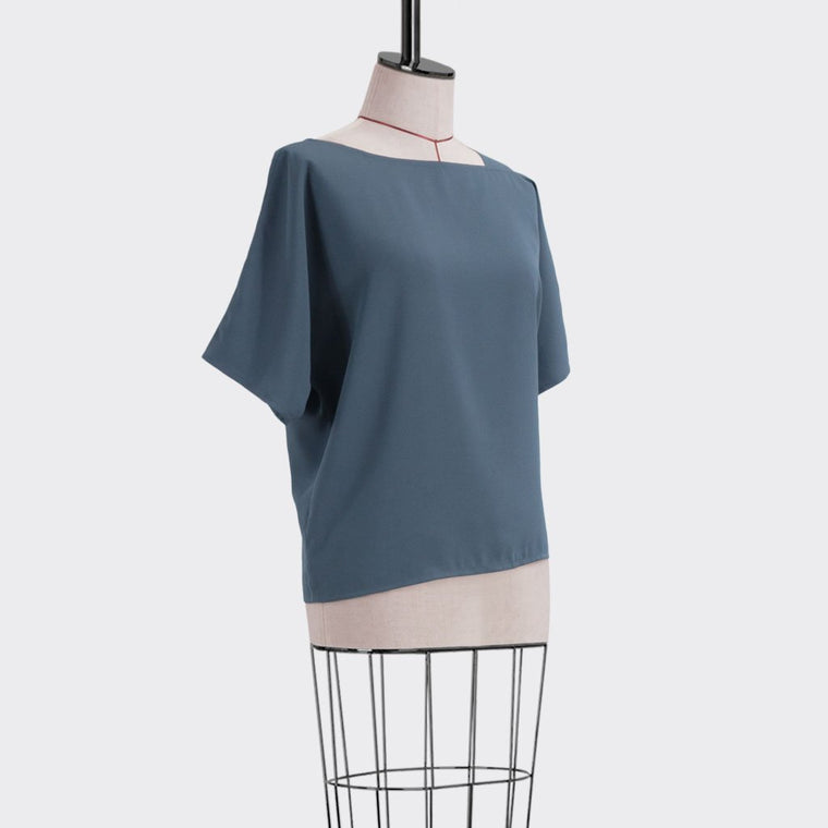 Fall 2018 Asymmetrical Top Polyester Blue XL