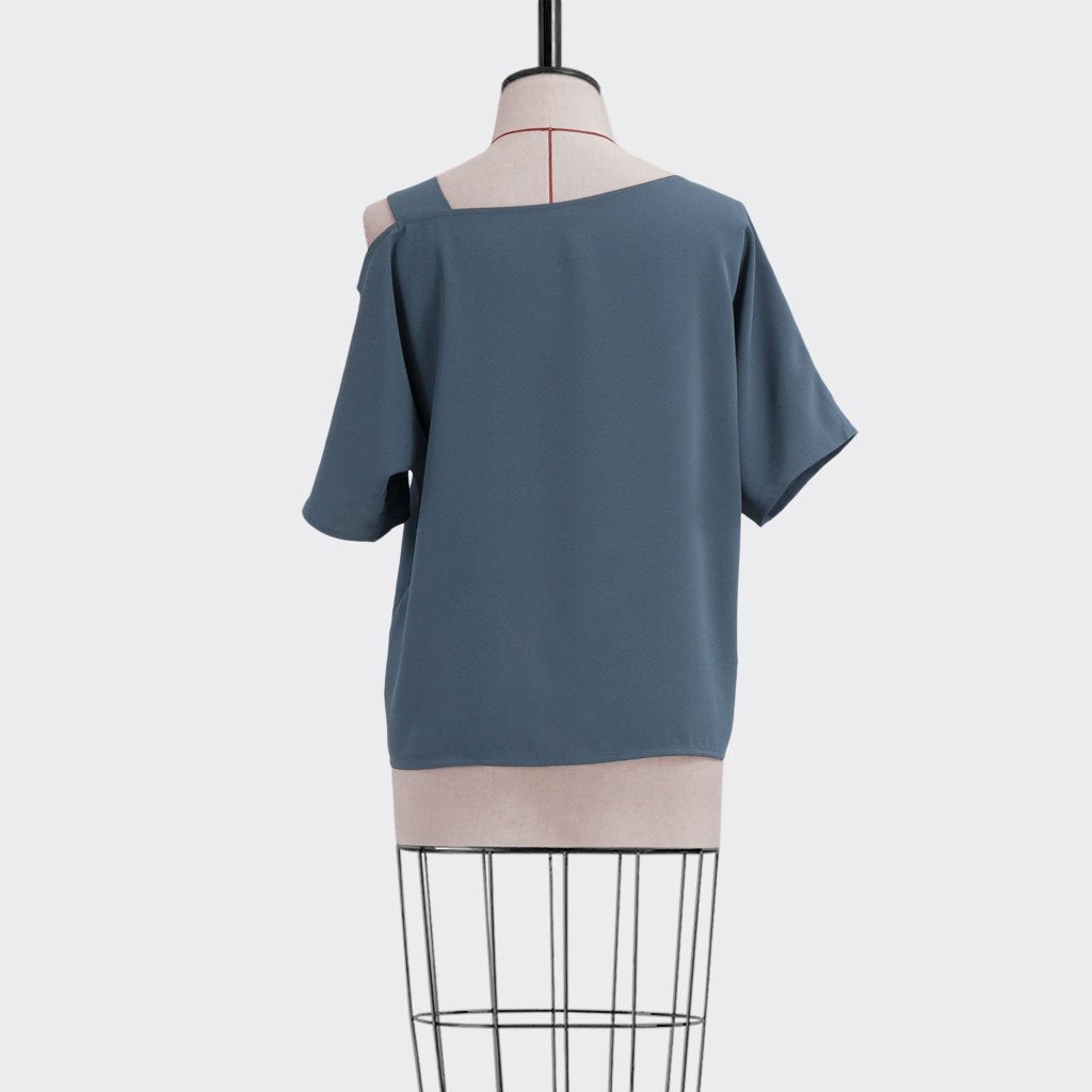 Fall 2018 Asymmetrical Top Polyester Blue L