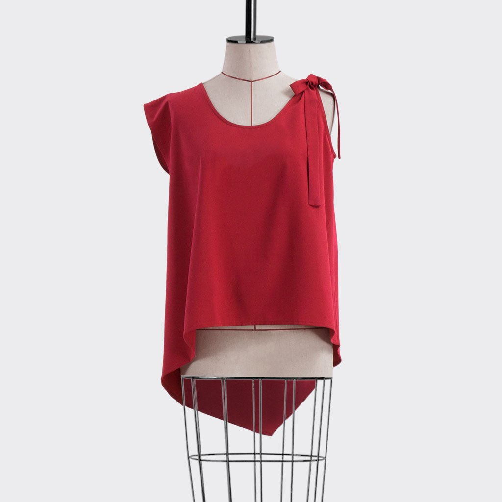 Fall 2018 Asymmetric Flare Top Polyester Red S